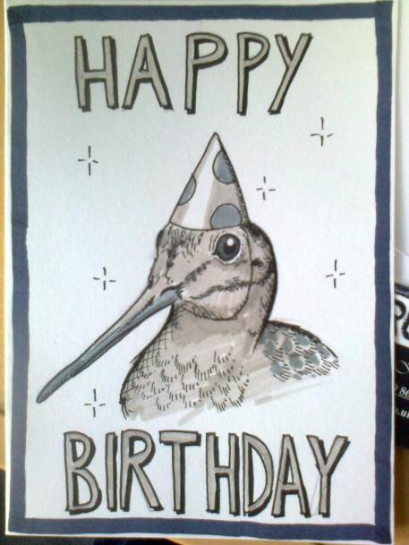 Woodcock birthday card
