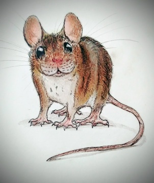 Wood mouse (mixed media)